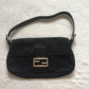 Fendi Shoulder Bag Black Satin Baguette Mini Purse